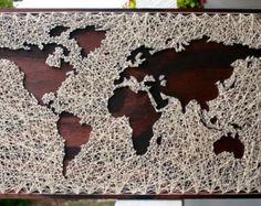 26 x 16 mappemonde String Art Reverse String par DistantRealms
