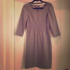 Grey CK dress Beautiful, clean-cut CK dress, accented waist, great for work. Calvin Klein Dresses Long Sleeve