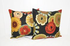 Decorative 16X16 Black Foral Pillow Cover Set by RKCreativeDesign