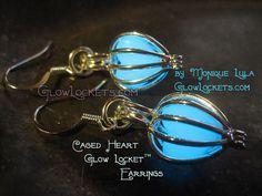 Caged Heart Glow Locket Earrings