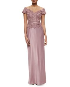 """La Femme satin gown with lace and bead detail. Approx. measurements: 60""""L; 36"""" bust; 29"""" waist; 40"""" hips (size 4). Off-the-shoulder neckline. Cap sleeves. Lace bodice. Banded waist. Sheath silhouette."""