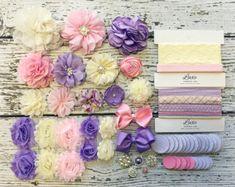 DIY Baby Headband Making Kit - Baby Shower Headband Station - MAKES 15+ or 25+ HEADBANDS!! Pink, Lavender, Ivory - HK290-15 / HK290-25