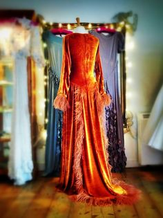 Rossetti; silk velvet and feather Pre-Raphaelite inspired evening gown by Joanne Fleming Design