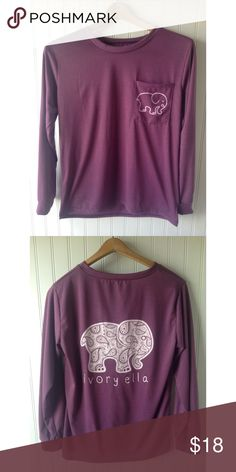 Purple Ivory Ella Elephant Tee When you want to have a chill day this tee will be perfect. It's a beautiful shade of purple and has a cute lil elephant on the pocket and on the back of the tee.🐘💕 Ivory Ella Tops Tees - Long Sleeve