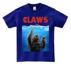 Men T-Shirt, Women T-Shirt, Graphic Tee, Dad Gift, Sloth Terrorizing the Surface from the Deep Blue Sea, Sloth Attack, Sloth T-Shirt
