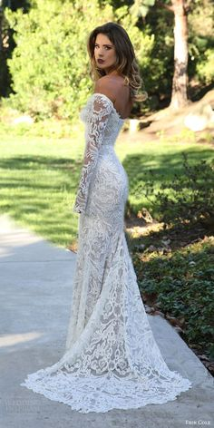 erin cole fall 2017 bridal off shoulder long sleeves beaded lace sheath wedding dress (antoinette) mv pointed train elegant