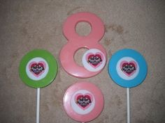 1 chocolate super hero powerpuff girls edible decal lollipop lollipops | sapphirechocolates - Edibles on ArtFire