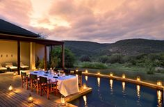 The Melton Manor in malaria free, Big Five Kwandwe Private Game Reserve in the Eastern Cape of South Africa is a well-appointed frontier farmhouse featuring a luxurious modern touch. Game Reserve South Africa, Private Games, Villa Design, African Safari, Outdoor Dining, Lodges, Beautiful Beaches, Family Travel, Swimming Pools