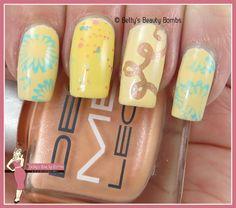 http://www.bettysbeautybombs.com/2015/05/26/yellow-skittle-nail-art/ / Yellow skittle nail art