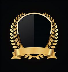 Gold And Black Shield With Gold Laurels Logo Background, Background Vintage, Mining Logo, Design Art, Logo Design, Scrapbook Cover, Hipster Wallpaper, Luxury Logo, New Backgrounds