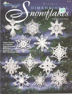 Crochet Dimensional Snowflakes Pattern Leaflet  12 Exquisite designs  By: Jo Ann…