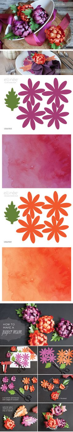 Paper mum tutorial (with free templates and watercolour papers) from Ellinée Paper Flower Tutorial, Paper Flowers Diy, Paper Roses, Handmade Flowers, Flower Crafts, Fabric Flowers, Rose Tutorial, Origami Paper, Diy Paper