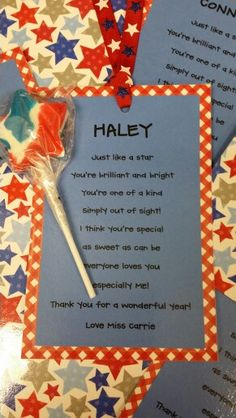 You're A Star poems for end of the year student gifts.