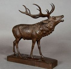 belling stag, carved wood, ca. 1910
