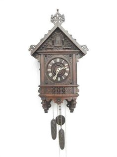"""LARGE 30"""" Antique 1800's ornate Black forest cuckoo ECHO clock.Top quality! GHS"""
