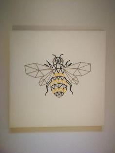 Hand-stitched geometric bee on canvas Spiral Drawing, Bee Drawing, Geometric Shapes Art, Geometric Drawing, Surfboard Drawing, Cross Stitch Tattoo, Honey Bee Tattoo, Diy Canvas Art, Painted Canvas