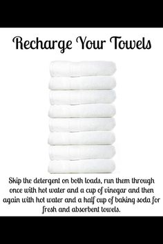 Over time, towels build up detergent and fabric softener, leaving them unable to absorb as much water. I use baking soda and fill the fabric softener dispenser with vinegar. Only have to wash once, and works with cold water too! Cleaning Solutions, Cleaning Hacks, Deep Cleaning, Cleaning Recipes, Cleaning Supplies, Cleaning With Vinegar, Baking Soda Laundry, Couch Cleaning, Cleaning Tips
