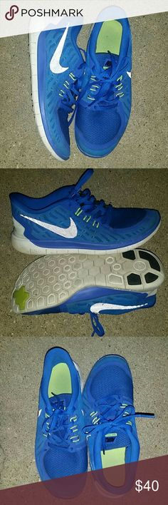 Boys Nike 5.0 (also fits Womens Sz 7) Amazing condition/hardly worn! Bright Blue w neon Green accents & black swoosh. Great Shoes!! Nike Shoes Sneakers