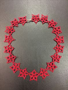 Red tatting necklace