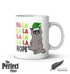 Grumpy Cat Fa La La La La La La La Nope Mug  by PerfectPieceShop