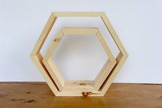 Wood Hexagon Shelf, Honeycomb Shelf, Wall Hanging