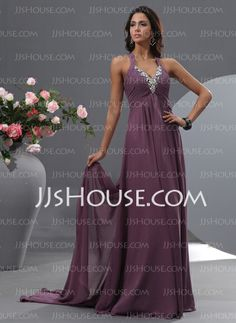 Evening Dresses - $154.99 - A-Line/Princess V-neck Watteau Train Chiffon Evening Dress With Ruffle Beading (017022755) http://jjshouse.com/A-Line-Princess-V-Neck-Watteau-Train-Chiffon-Evening-Dress-With-Ruffle-Beading-017022755-g22755
