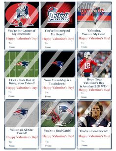 New England Patriots Valentines Day Cards Sheet #6 (instant download or printed)