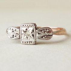 Art Deco Geometric Diamond Solitaire Engagement Ring, Tribal Aztec Design Diamond Platinum & 9k Rose Gold Vintage Ring Size US 4.75 on Etsy, $248.00