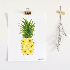 Affiche ananas fleuri, art imprimé ananas et fleurs jaunes, illustration par Joannie Houle