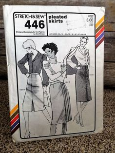 Office Chic 1980's Pleated Skirt Stretch & Sew Sewing Pattern 446 by CobbWebbTreasures on Etsy