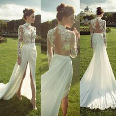 Ivory High Neck Long Sleeves See Through Applique Side Split Sexy Long Prom Dresses, Wedding Dress, WG265