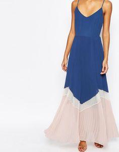 ASOS   ASOS Maxi Dress In Pleated Colour Block at ASOS