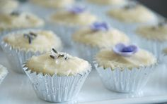 Mini Lavender Cupcakes with Honey-Mascarpone frosting