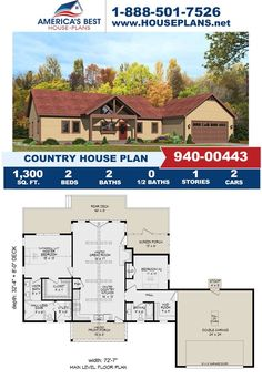 Fall in love with this cozy Country design featuring 1,300 sq. ft., 2 bedrooms, 2 bathrooms, a covered porch, the front entry garage feature and a mud room. Visit our website for more information about Plan 940-00443.