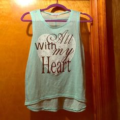 """With All My Heart"" shirt T shirt mint green color gently worn see through cute with a bralette or tank top underneath slightly high low Charlotte Russe Tops Tank Tops"