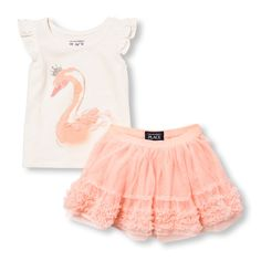 Toddler Girls Short Ruffle Sleeve Embellished Swan Princess Top And Ruffle Tutu Skirt Set