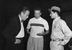 "Humphrey Bogart, director Nicholas Ray and John Derek on the set of ""Knock on Any Door"", 1949"