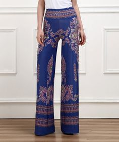 Take a look at this Blue Damask High-Waist Palazzo Pants on zulily today!