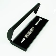 HALF BRAIDED PEWTER with BLACK ENAMEL BODY ROLLER BALL PEN bpl-