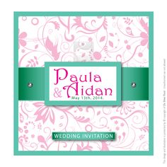 Pink and turquoise elegant wedding invitation from onsilverpond.com