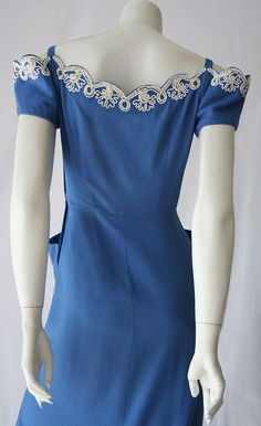 40s blue embroidered wiggle dress back
