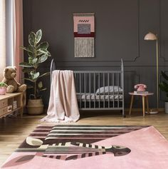 We love this nursery because it breaks the rules. Lush dark toned walls accented with dusty pink accessories, it's a great way to make a statement and create a cozy nest for your little one. 🌸 Bonbon Zebra rug by 🦓 Baby Decor, Kids Decor, Nursery Decor, Home Decor, Best Weave, Baby Zebra, Pink Accessories, Hand Knotted Rugs, Rug Making