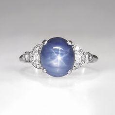 Rare Marcus & Co. 5.76 ct t.w. Lavender Blue Star Sapphire Diamond Ring Platinum