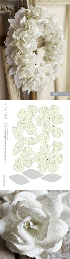 Paper Rose Wreath - free template/printable  tutorial -- from Ellinée journal