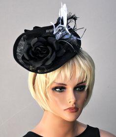 Derby Fascinator, Kentucky Derby fascinator hat, wedding fascinator, wedding hat, Derby Hat, Ascot Hat, Formal hat, Black and White Hat