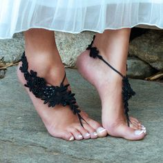 Black Lace Barefoot Sandals, JAMIE, Goth Edwardian Wedding Bellydance Performer…