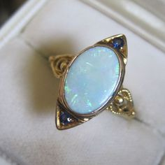 18K Yellow Gold Opal Sapphire Ring Fine Victorian  Bliss Exclusive to Ruby Lane