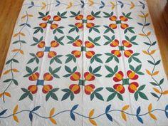 1850 Love Apple Antique Applique Quilt ~ Chedddar Red Blue & Vining Border | Vintageblessings on eBay