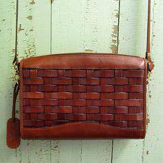 vintage 1980s Etienne Aigner Basket Woven Leather Handbag