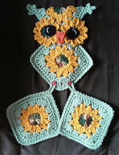 Crochet Sunflower Owl Potholder Holder Pattern por 3ThreadinBettys